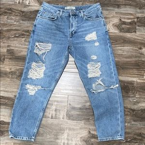 TOPSHOP HAYDEN - Distressed Ripped MOM JEANS😍